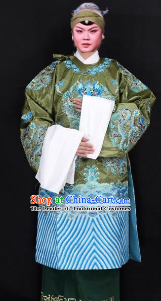 Traditional China Beijing Opera Old Women Costume Empress Dowager Embroidered Green Cape, Ancient Chinese Peking Opera Pantaloon Embroidery Dress Clothing