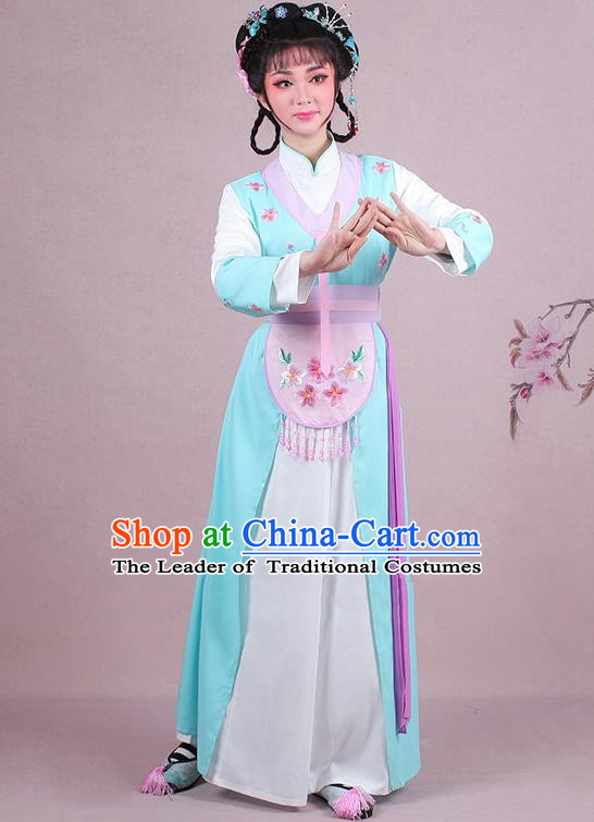 Traditional China Beijing Opera Young Lady Hua Tan Costume Servant Girl Embroidered Light Blue Clothing, Ancient Chinese Peking Opera Diva Embroidery Dress Clothing