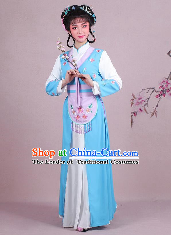 Traditional China Beijing Opera Young Lady Hua Tan Costume Servant Girl Embroidered Blue Clothing, Ancient Chinese Peking Opera Diva Embroidery Dress Clothing