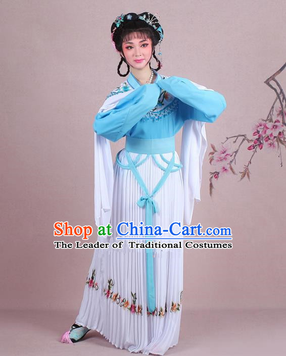 Traditional China Beijing Opera Young Lady Costume A Dream in Red Mansions Maidservants Embroidered Blue Dress, Ancient Chinese Peking Opera Hua Tan Embroidery Clothing