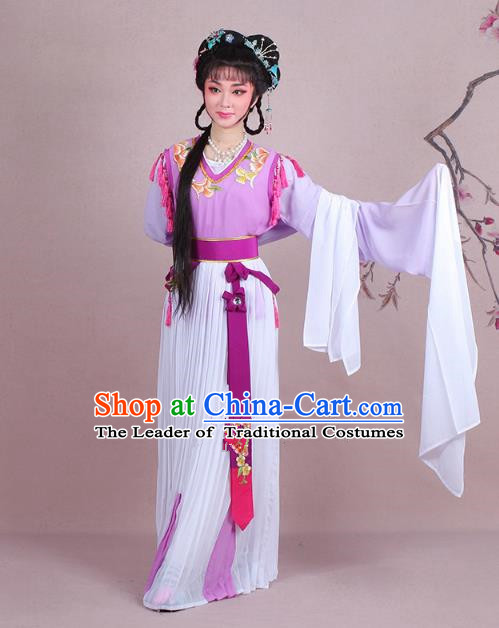 Traditional China Beijing Opera Young Lady Servant Girl Costume Embroidered Purple Dress, Ancient Chinese Peking Opera Diva Embroidery Clothing