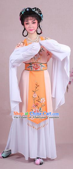 Traditional China Beijing Opera Young Lady Costume Embroidered Orange Servant Girl Dress, Ancient Chinese Peking Opera Diva Embroidery Peony Clothing