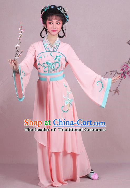 Traditional China Beijing Opera Palace Lady Costume Embroidered Servant Girl Dress, Ancient Chinese Peking Opera Diva Embroidery Pink Clothing