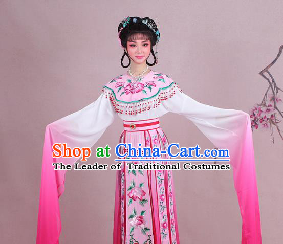 Traditional China Beijing Opera Palace Lady Costume Imperial Consort Embroidered Pink Dress, Ancient Chinese Peking Opera Diva Hua Tan Embroidery Clothing