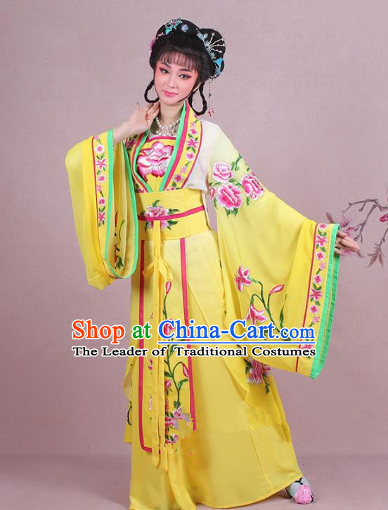 Traditional China Beijing Opera Palace Lady Costume Imperial Princess Embroidered Yellow Dress, Ancient Chinese Peking Opera Diva Hua Tan Embroidery Clothing