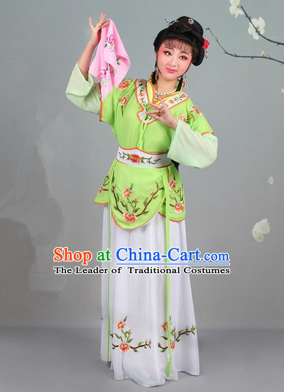 Traditional China Beijing Opera Young Lady Costume Servant Girl Embroidered Green Dress, Ancient Chinese Peking Opera Diva Jordan-Sitting Embroidery Clothing