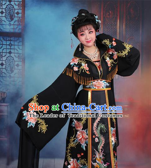 Traditional China Beijing Opera Palace Lady Hua Tan Costume Black Embroidered Dress, Ancient Chinese Peking Opera Diva Senior Concubine Embroidery Peony Clothing