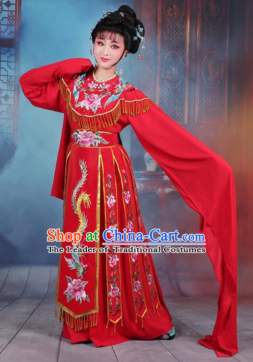 Traditional China Beijing Opera Palace Lady Hua Tan Costume Water Sleeve Embroidered Dress, Ancient Chinese Peking Opera Diva Senior Concubine Embroidery Red Clothing