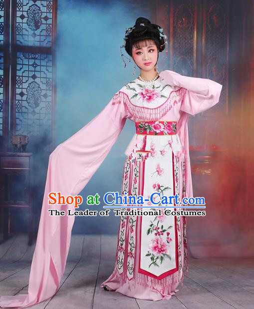 Traditional China Beijing Opera Palace Lady Hua Tan Costume Water Sleeve Embroidered Dress, Ancient Chinese Peking Opera Diva Senior Concubine Embroidery Pink Clothing