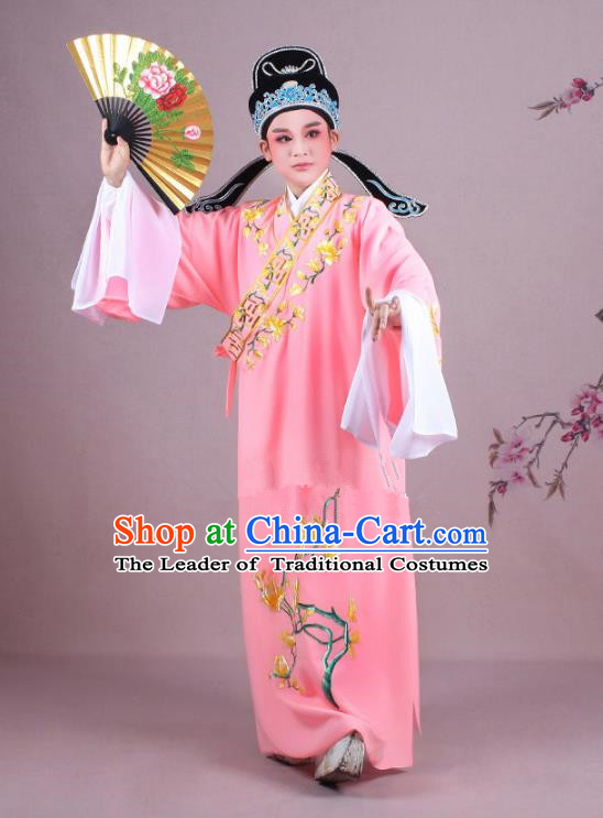 Traditional China Beijing Opera Niche Costume Gifted Scholar Watermelon Red Embroidered Robe and Hat, Ancient Chinese Peking Opera Young Men Embroidery Mangnolia Clothing