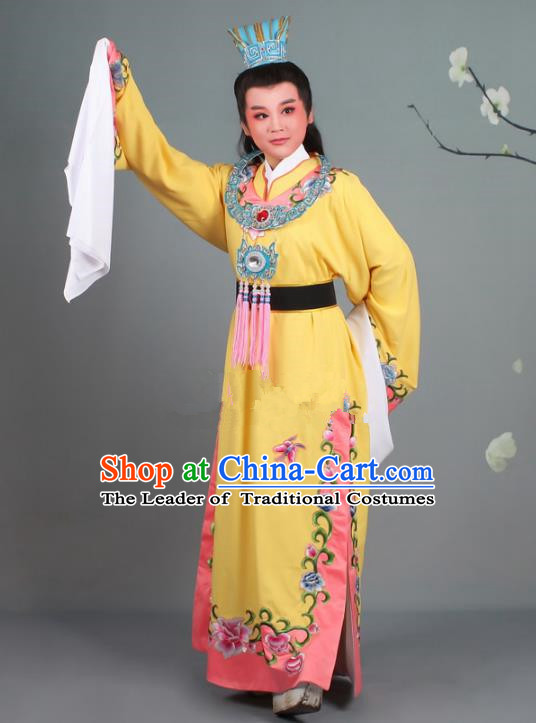 Traditional China Beijing Opera Niche Costume Gifted Scholar Jia Baoyu Yellow Embroidered Robe and Hat, Ancient Chinese Peking Opera Young Men Embroidery Peony Clothing