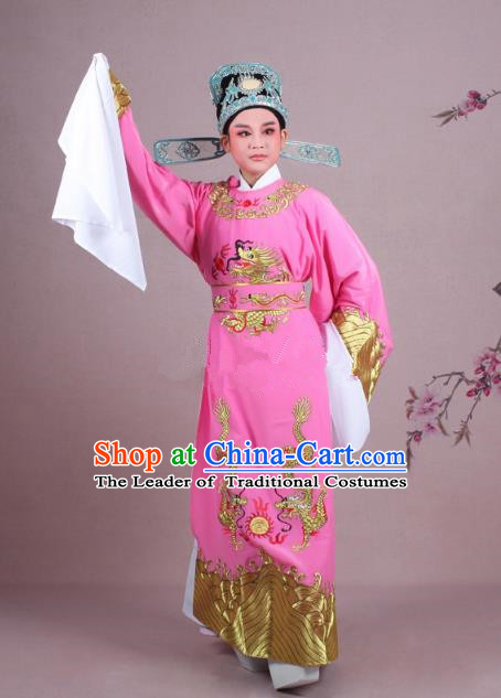 Traditional China Beijing Opera Niche Costume Lang Scholar Pink Embroidered Robe and Hat, Ancient Chinese Peking Opera Emperor Son-in-law Embroidery Gwanbok Clothing