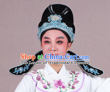 Traditional China Beijing Opera Young Men Hair Accessories Scholar Share-Win Headwear, Ancient Chinese Peking Opera Niche Hat