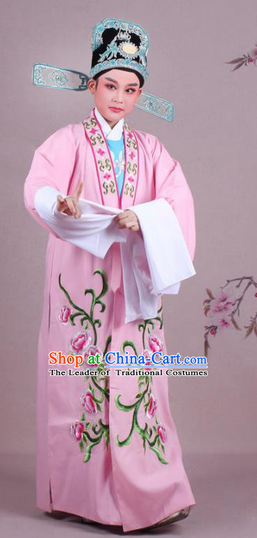 Traditional China Beijing Opera Niche Costume Gifted Scholar Pink Embroidered Cape and Hat, Ancient Chinese Peking Opera Young Men Embroidery Peony Clothing