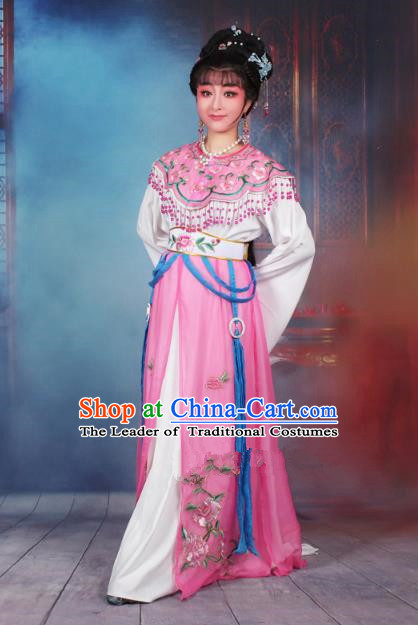Traditional China Beijing Opera Young Lady Hua Tan Costume Pink Embroidered Dress, Ancient Chinese Peking Opera Diva Senior Concubine Embroidery Peony Clothing