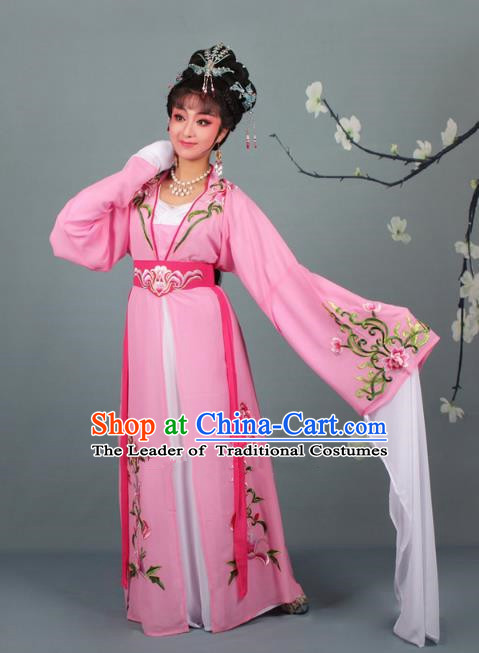 Traditional China Beijing Opera Young Lady Hua Tan Costume Princess Pink Embroidered Dress, Ancient Chinese Peking Opera Diva Embroidery Clothing