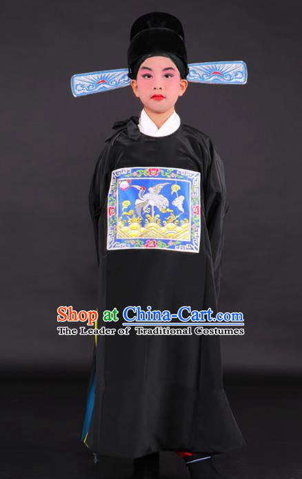 Traditional China Beijing Opera Niche Costume Lang Scholar Black Embroidered Robe and Hat, Ancient Chinese Peking Opera Embroidery Gwanbok for Kids