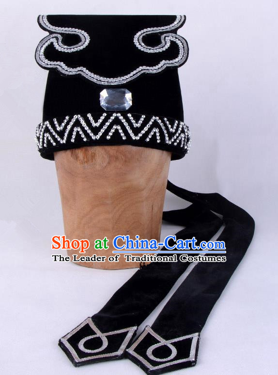 Traditional China Beijing Opera Young Men Hair Accessories Scholar Share-Win Headwear, Ancient Chinese Peking Opera Niche Black Hat