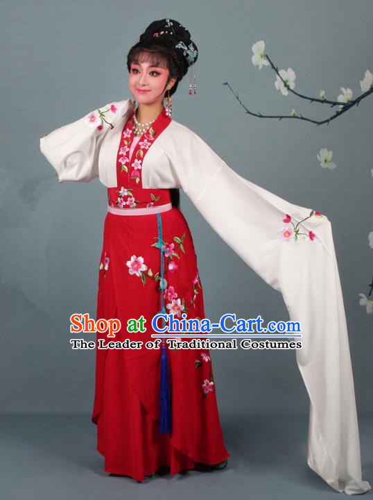 Traditional China Beijing Opera Young Lady Hua Tan Costume Princess Red Embroidered Dress, Ancient Chinese Peking Opera Diva Embroidery Peach Blossom Clothing