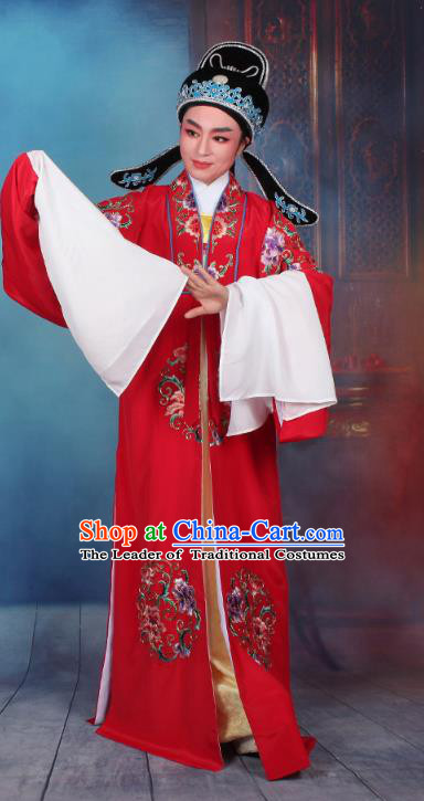 Top Grade Professional Beijing Opera Niche Costume Scholar Red Embroidered Robe and Headwear, Traditional Ancient Chinese Peking Opera Embroidery Young Men Clothing