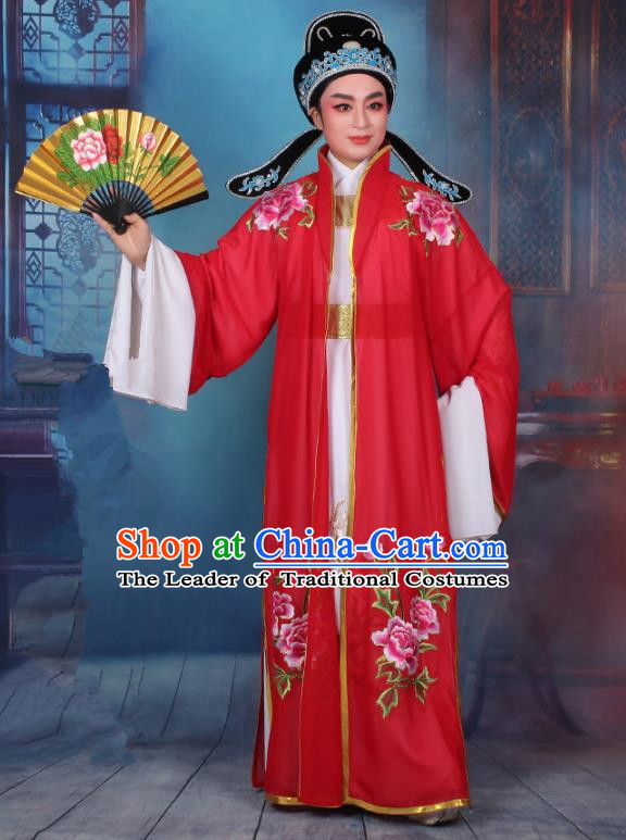 Top Grade Professional Beijing Opera Niche Costume Scholar Red Embroidered Cape, Traditional Ancient Chinese Peking Opera Embroidery Young Men Clothing