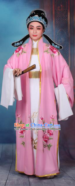 Top Grade Professional Beijing Opera Niche Costume Scholar Pink Embroidered Cape, Traditional Ancient Chinese Peking Opera Embroidery Young Men Clothing