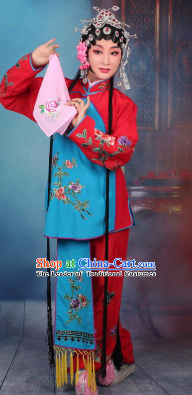Top Grade Professional Beijing Opera Young Lady Costume Servant Girl Red Embroidered Clothing, Traditional Ancient Chinese Peking Opera Maidservants Embroidery Clothing