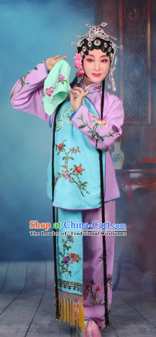 Top Grade Professional Beijing Opera Young Lady Costume Servant Girl Purple Embroidered Clothing, Traditional Ancient Chinese Peking Opera Maidservants Embroidery Clothing