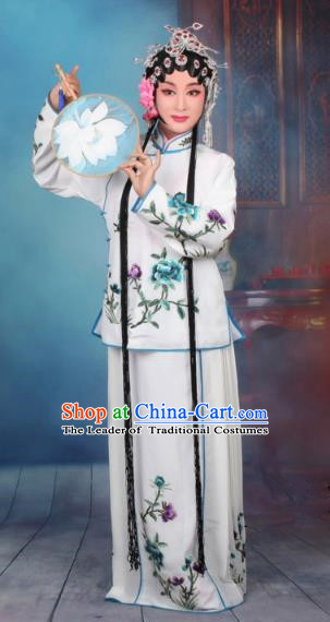 Top Grade Professional Beijing Opera Young Lady Costume Servant Girl White Embroidered Dress, Traditional Ancient Chinese Peking Opera Maidservants Embroidery Peony Clothing