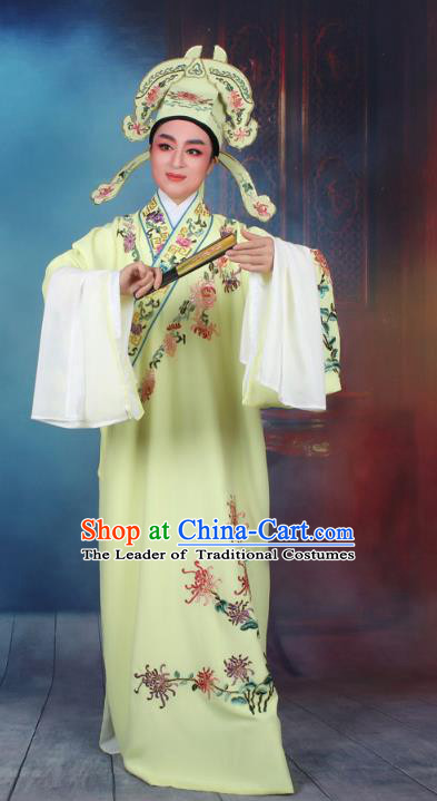 Top Grade Professional Beijing Opera Niche Costume Gifted Scholar Yellow Embroidered Robe, Traditional Ancient Chinese Peking Opera Young Men Embroidery Chrysanthemum Clothing