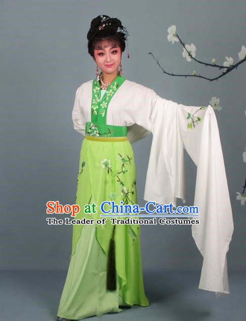 Traditional China Beijing Opera Young Lady Hua Tan Costume Princess Green Embroidered Dress, Ancient Chinese Peking Opera Diva Embroidery Peach Blossom Clothing