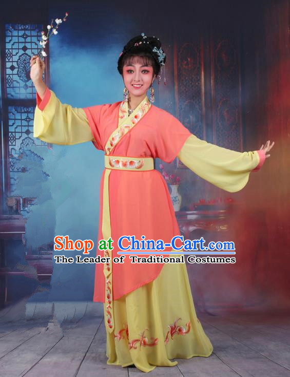 Top Grade Professional Beijing Opera Young Lady Costume Servant Girl Orange Embroidered Dress, Traditional Ancient Chinese Peking Opera Maidservants Embroidery Clothing