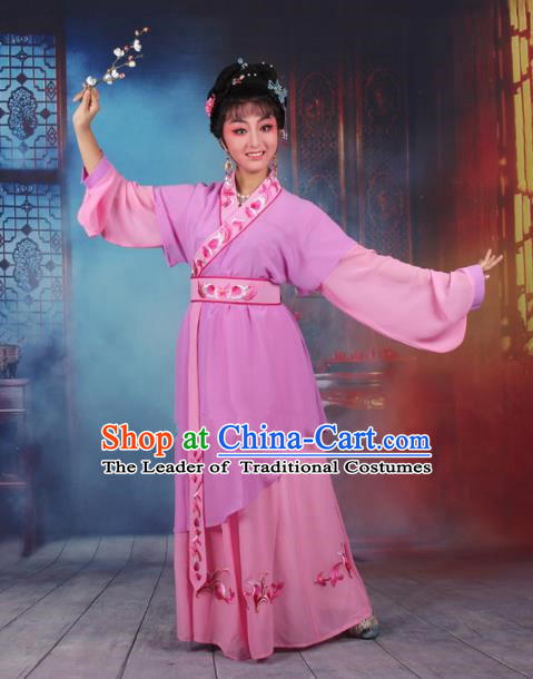 Top Grade Professional Beijing Opera Young Lady Costume Servant Girl Light Purple Embroidered Dress, Traditional Ancient Chinese Peking Opera Maidservants Embroidery Clothing