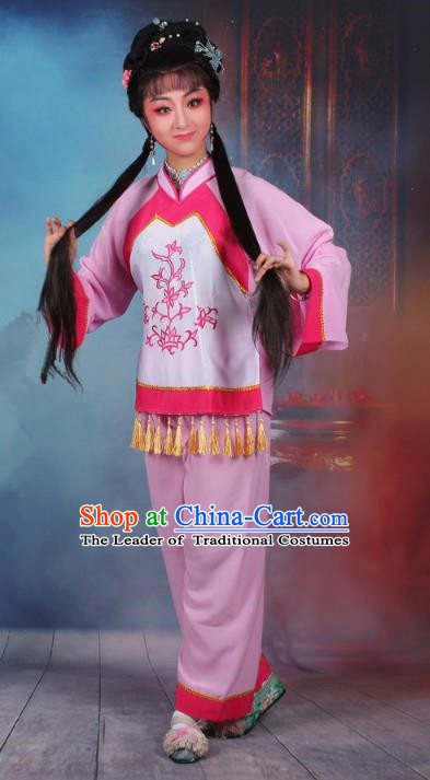 Top Grade Professional Beijing Opera Young Lady Costume Fisher Maiden Pink Embroidered Clothing, Traditional Ancient Chinese Peking Opera Maidservants Embroidery Clothing