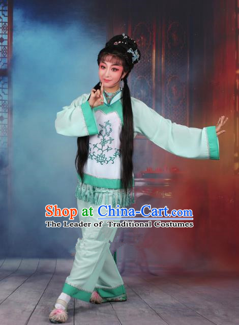 Top Grade Professional Beijing Opera Young Lady Costume Fisher Maiden Green Embroidered Clothing, Traditional Ancient Chinese Peking Opera Maidservants Embroidery Clothing