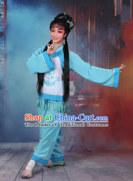 Top Grade Professional Beijing Opera Young Lady Costume Fisher Maiden Blue Embroidered Clothing, Traditional Ancient Chinese Peking Opera Maidservants Embroidery Clothing