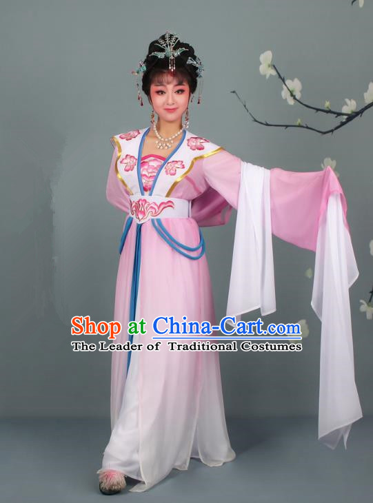 Top Grade Professional Beijing Opera Palace Lady Costume Hua Tan Pink Embroidered Clothing, Traditional Ancient Chinese Peking Opera Diva Embroidery Clothing