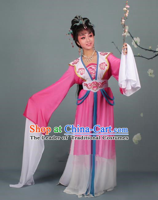 Top Grade Professional Beijing Opera Palace Lady Costume Hua Tan Rosy Embroidered Clothing, Traditional Ancient Chinese Peking Opera Diva Embroidery Clothing