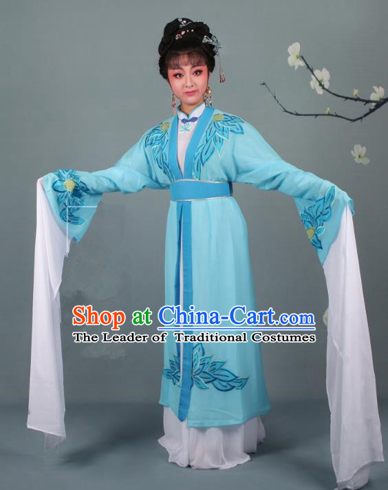 Top Grade Professional Beijing Opera Palace Lady Costume Hua Tan Blue Water Sleeve Embroidered Clothing, Traditional Ancient Chinese Peking Opera Diva Embroidery Lotus Clothing