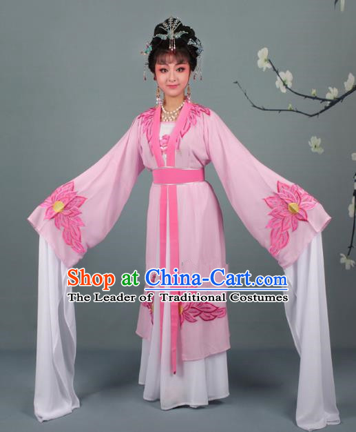 Top Grade Professional Beijing Opera Palace Lady Costume Hua Tan Pink Water Sleeve Embroidered Clothing, Traditional Ancient Chinese Peking Opera Diva Embroidery Lotus Clothing