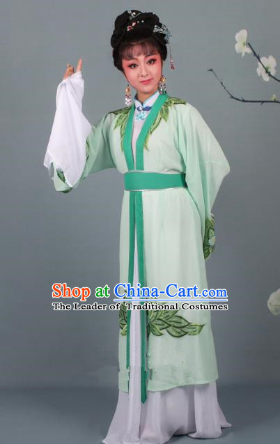 Top Grade Professional Beijing Opera Palace Lady Costume Hua Tan Green Water Sleeve Embroidered Clothing, Traditional Ancient Chinese Peking Opera Diva Embroidery Lotus Clothing