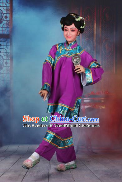 Traditional China Beijing Opera Old Women Costume Matchmaker Embroidered Purple Clothing, Ancient Chinese Peking Opera Pantaloon Clothing