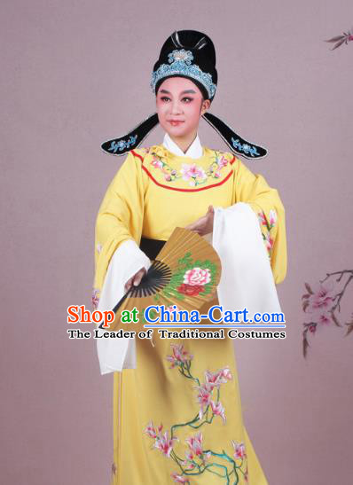 Traditional China Beijing Opera Niche Costume Yellow Embroidered Robe and Headwear, Ancient Chinese Peking Opera Embroidery Mangnolia Lang Scholar Clothing
