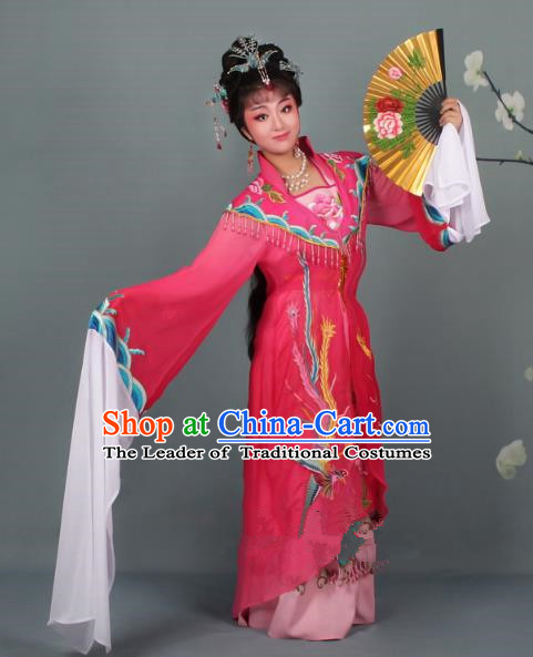 Top Grade Professional Beijing Opera Palace Lady Costume Hua Tan Rosy Embroidered Dress, Traditional Ancient Chinese Peking Opera Diva Embroidery Phoenix Clothing