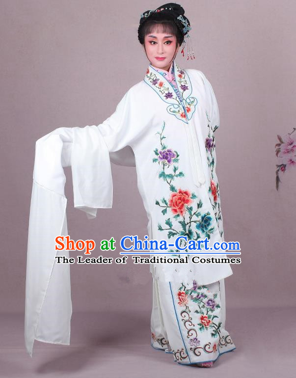 Top Grade Professional Beijing Opera Female Role Costume Imperial Concubine White Embroidered Cape, Traditional Ancient Chinese Peking Opera Diva Embroidery Peony Clothing