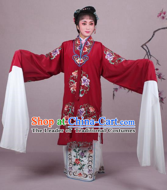 Top Grade Professional Beijing Opera Nobility Lady Costume Princess Dark Red Embroidered Cape, Traditional Ancient Chinese Peking Opera Diva Embroidery Clothing