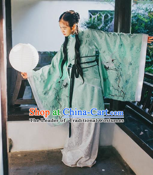 Traditional Chinese Han Dynasty Young Lady Embroidery Cranes Costume, Elegant Hanfu Curve Bottom Chinese Ancient Princess Dress Clothing