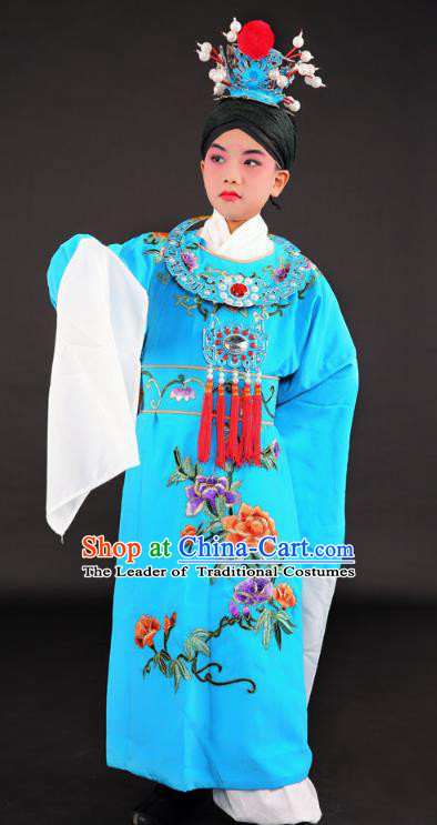 Traditional China Beijing Opera Niche Costume Gifted Scholar Blue Embroidered Robe and Headwear, Ancient Chinese Peking Opera Young Men Embroidery Gwanbok for Kids