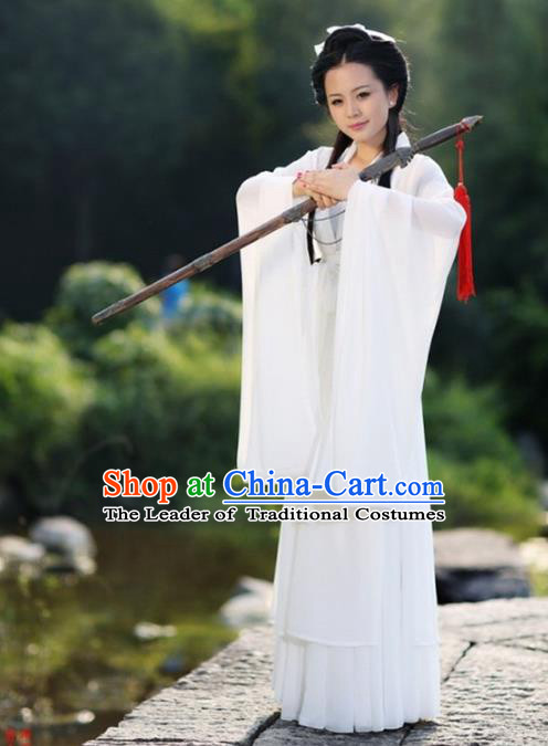 Traditional Chinese Young Lady Swordswoman Costume, Elegant Hanfu Chinese Ancient Heroine Little Dragon Maiden Dress Clothing
