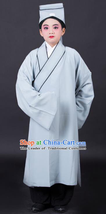 Traditional China Beijing Opera Niche Costume Scholar Grey Robe and Headwear, Ancient Chinese Peking Opera Young Men Clothing for Kids